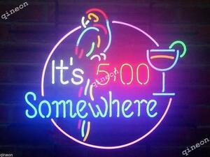 """New It/'s 5:00 Somewhere Parrot Palm Tree Neon Sign 19/""""x15/"""""""