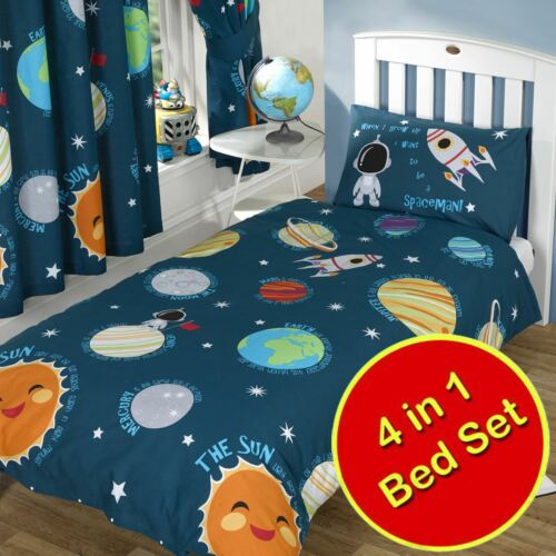 SINGLE DOUBLE JUNIOR DUVET COVERS MATCHING CURTAINS SOLAR SYSTEM SPACE PLANETS