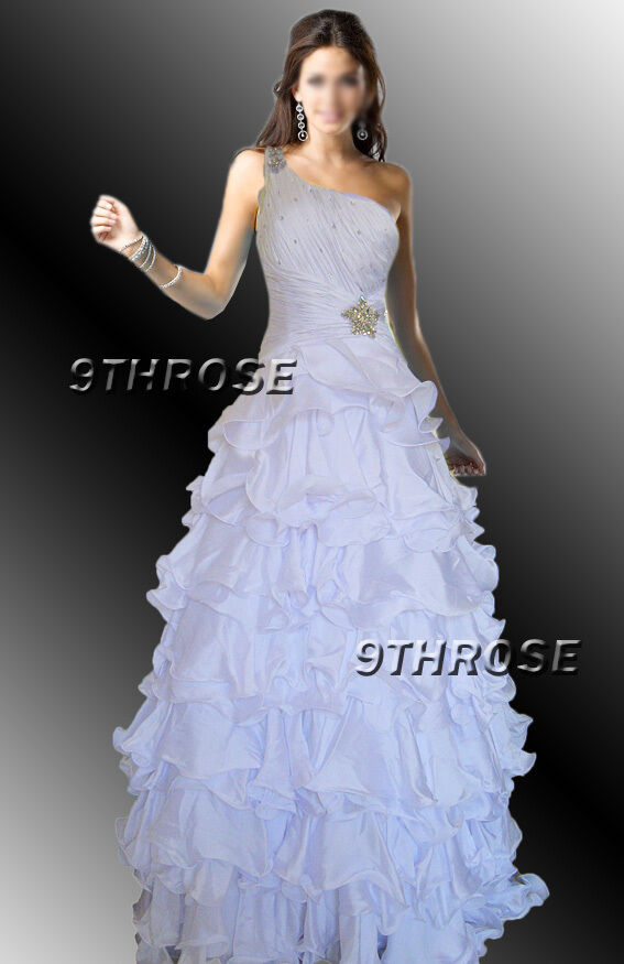 OWN THE STAGE  BEADED ONE SHOULDER FORMAL EVENING PROM BALL GOWN WHITE AU20 US18