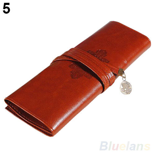 Vintage Retro Roll Leather Make up Cosmetic Pencil Case Pouch Purse Bag Box B67U