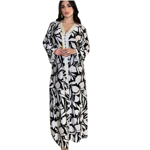 Kaftan Muslim Floral Dubai Arab Abaya Women Maxi Dress Islamic Jilbab Party Gown