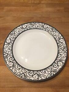 CIROA LUXE Metallic BLACK Veluto Scroll Porcelain Dinner Plate Set/2
