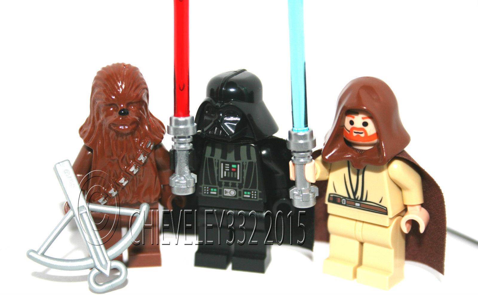 Lego Minifigures Chewbacca Darth Vader and Obi-Wan Kenobi Minifigures Brand New