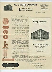 GRAPHIC-1911-MINNEAPOLIS-MINNESOTA-LETTERHEAD-amp-BROCHURE-W-S-NOTT-LEATHER-CO