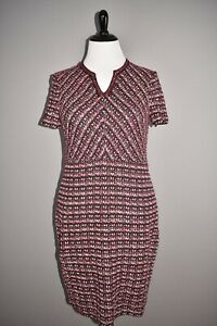 ST. JOHN Collection NEW $1295 Multi Tuck Tweed Sweater Dress Plum Multi Size 16