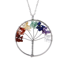 Womens 7 Chakra Tree of Life Pendant Multicolor Wisdom Energy Necklace