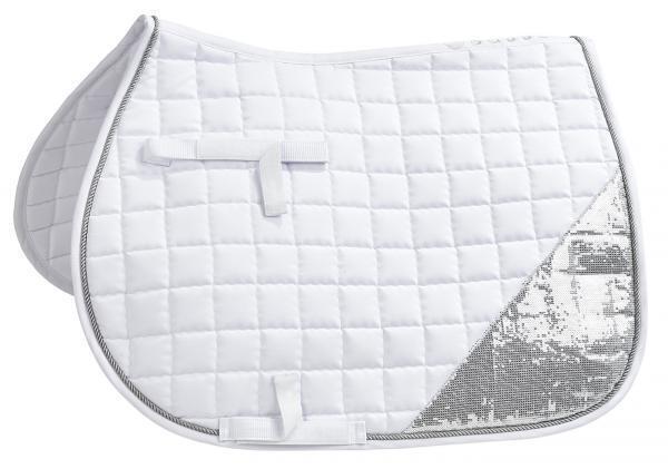 Busse Funda Silla Montar Amsterdam blancoo con  Lentejuelas Plata Doma  cómodamente