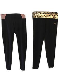 A-Lot-of-2-Victoria-039-s-Secret-Pink-27-034-inseam-Black-Yoga-Legging-Pants-Size-Small
