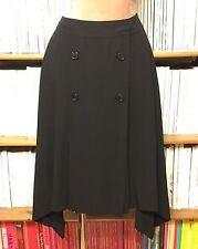 ANN DEMEULEMEESTER black pleat skirt avant-garde dip hem 38 / UK 10-12 / US 6-8