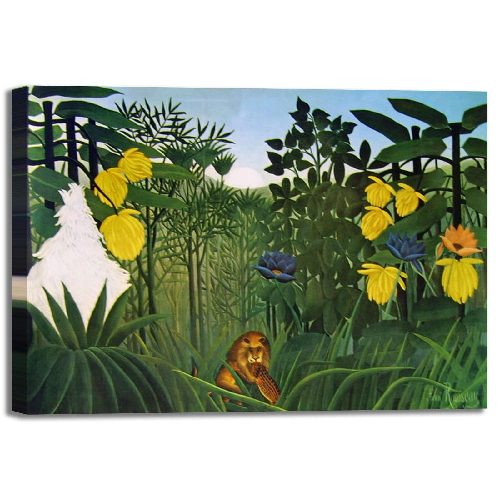 Rousseau pantera e leone leone leone design quadro stampa tela dipinto telaio arroto casa 0efab1