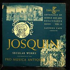 Safford Cape Pro Musica Antiqua - Josquin Des Prez Secular Works LP VG+ EMS 213