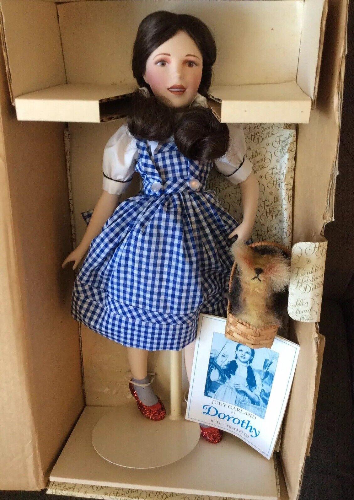 Franklin reliquia muñecas Judy Garland como Dorojohy con Toto & Certificado Y Caja