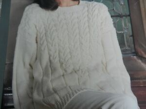 Knitting Pattern Women Ladies Jumper Cable And Stitch Pattern Detail