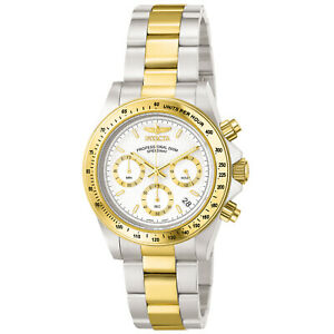 Invicta-Men-039-s-Watch-Speedway-White-and-Gold-Tone-Dial-Chronograph-Bracelet-9212