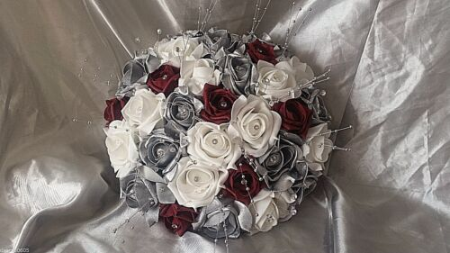 SILVER WHITE AND DARK RED WEDDING BRIDAL BOUQUET WITH DIAMANTES AND PEARLS