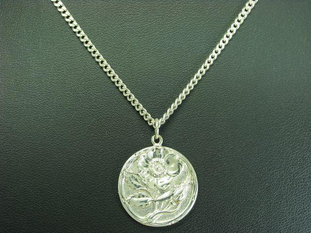 925 STERLING silver KETTE & 900 silver ANHÄNGER   FLORAL   blueME   13,6g   52cm