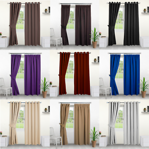 Blackout Curtains Eyelet And Pencil Pleat Thick Thermal Curtains With Tiebacks
