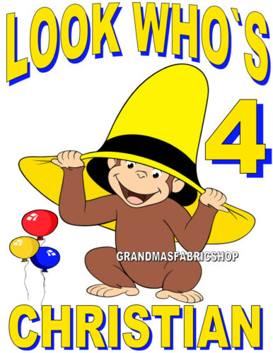NEW Personalized Custom Curious George Birthday T Shirt Add Name /& Age