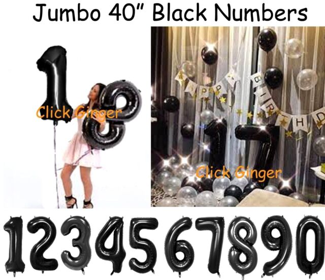 Black Jumbo Number Foil Balloons Giant Numbers Birthday Balloon 21 18 20 25 30