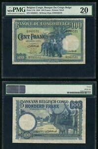 1949-Belgian-Congo-Bank-One-Hundred-Francs-Banknote-P-17d-PMG-VF-20-Elephants
