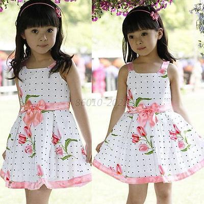 1PCS Kids Girls Princess Sleeveless Dress Bowknot Dot Floral Skirt Party Clothes