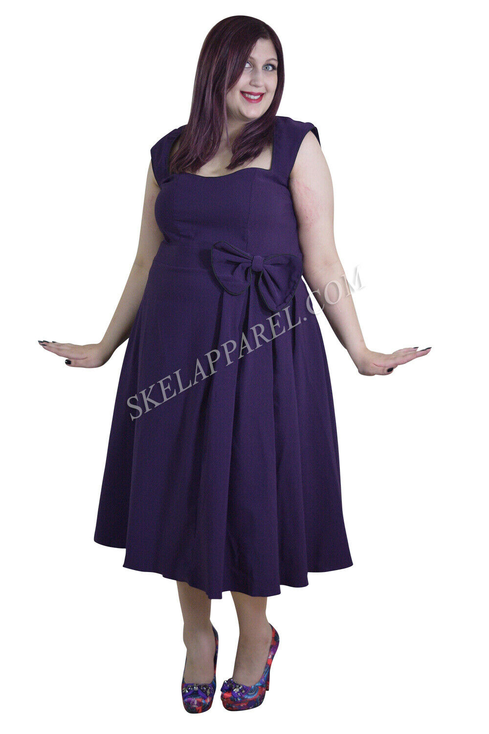 d2c5497821d9 60's Retro lila Belted Flare Dress with Bow Party Vintage ngqxvr1824 ...