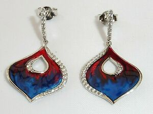Damen-Jugendstil-Rot-amp-Blau-Emaille-Sterling-925-Silber-Saphir-Ohrringe