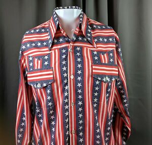 Vintage-Patriotic-Montgomery-Wards-Western-Shirt-Red-White-Blue-Stars-Stripes