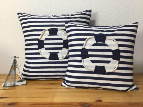 Pillowcase 1x maritime Cushion Cover Rescue Ring Blue//White 40x40cm.