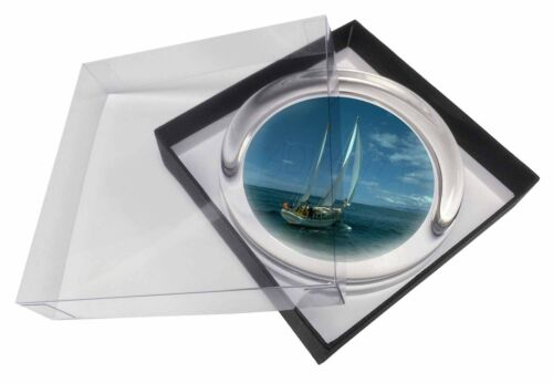 Sailing Boat Glass Paperweight in Gift Box Christmas Present, BOA-2PW