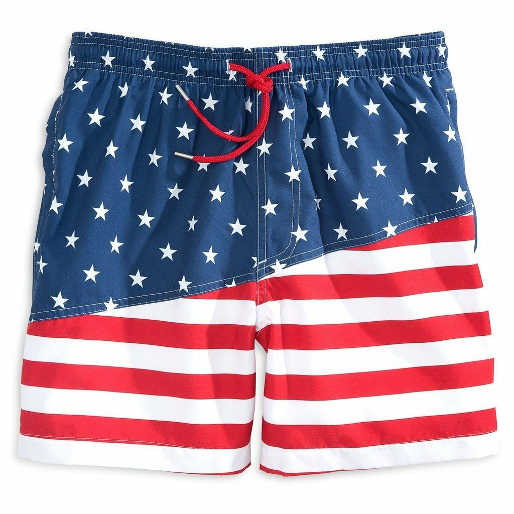 NWT Southern Tide Men's American Flag Red White bluee Swim Trunks Shorts Small