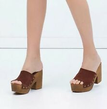 Zara Tan Brown Leather Platform Clogs Mules Sandals Size EU 37 UK 4 BNWB