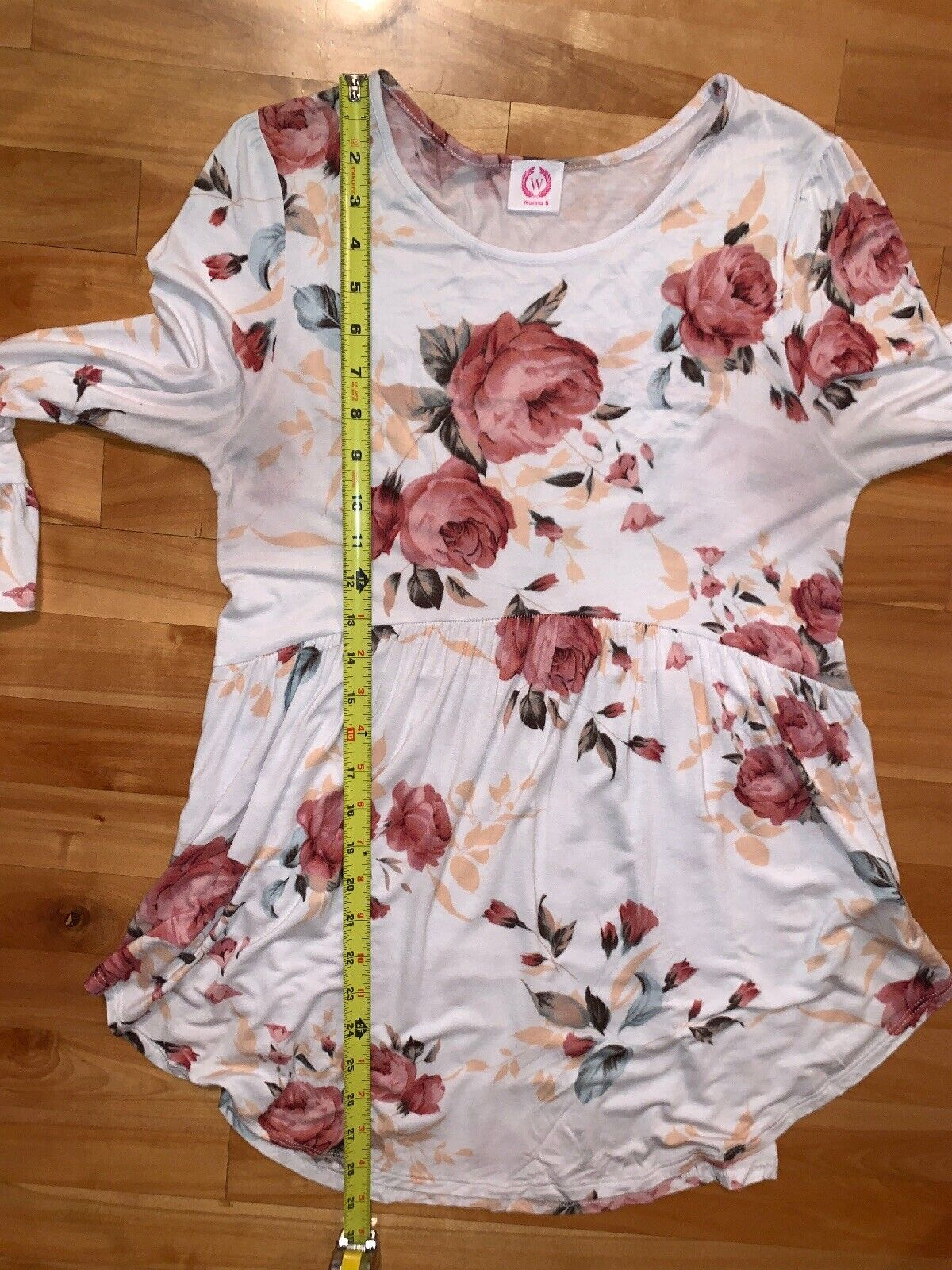 MODA MADE IN ITALY WHITE PINK FLORAL BARDOT RUFFLE SLEEVE PEPLUM TOP BLOUSE 12 M