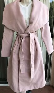 RRP £44.99 Long Oversize Belted Waterfall Coat in Dusty Pink