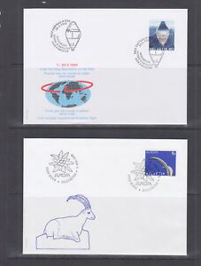 Switzerland-Mi-1680-1708-1999-issues-5-complete-sets-on-5-official-FDCs