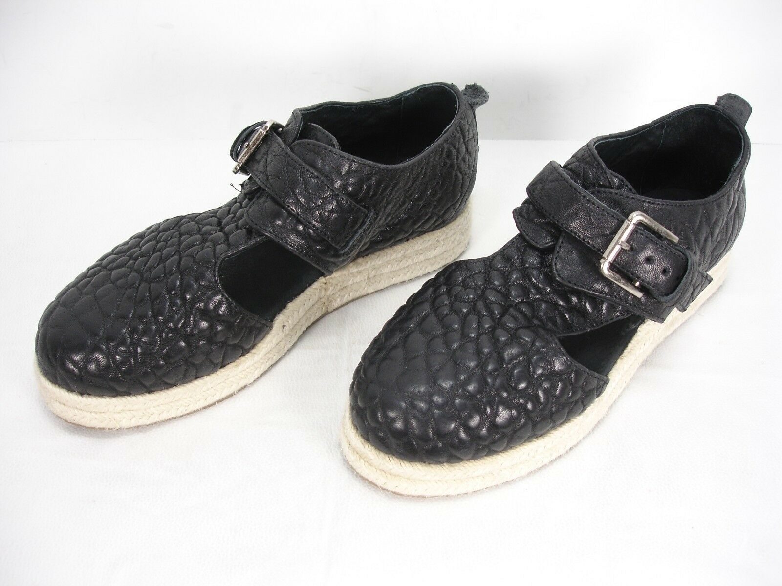 FREE PEOPLE BLACK LEATHER BIG PEBBLE BUCKLE STRAP ESPADRILLE Schuhe WOMEN'S 36