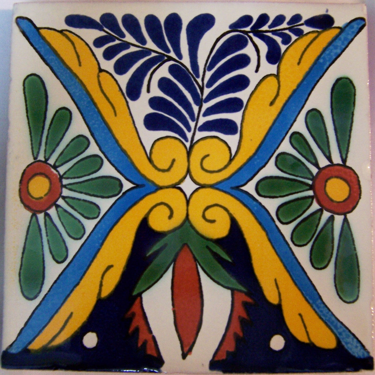 C282- Mexican Handmade Talavera Clay Tile Folk Art 4x4