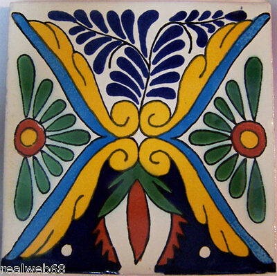 "Mexican Handmade Talavera Clay Tile Folk Art 4x4/""  Handpainted C112"
