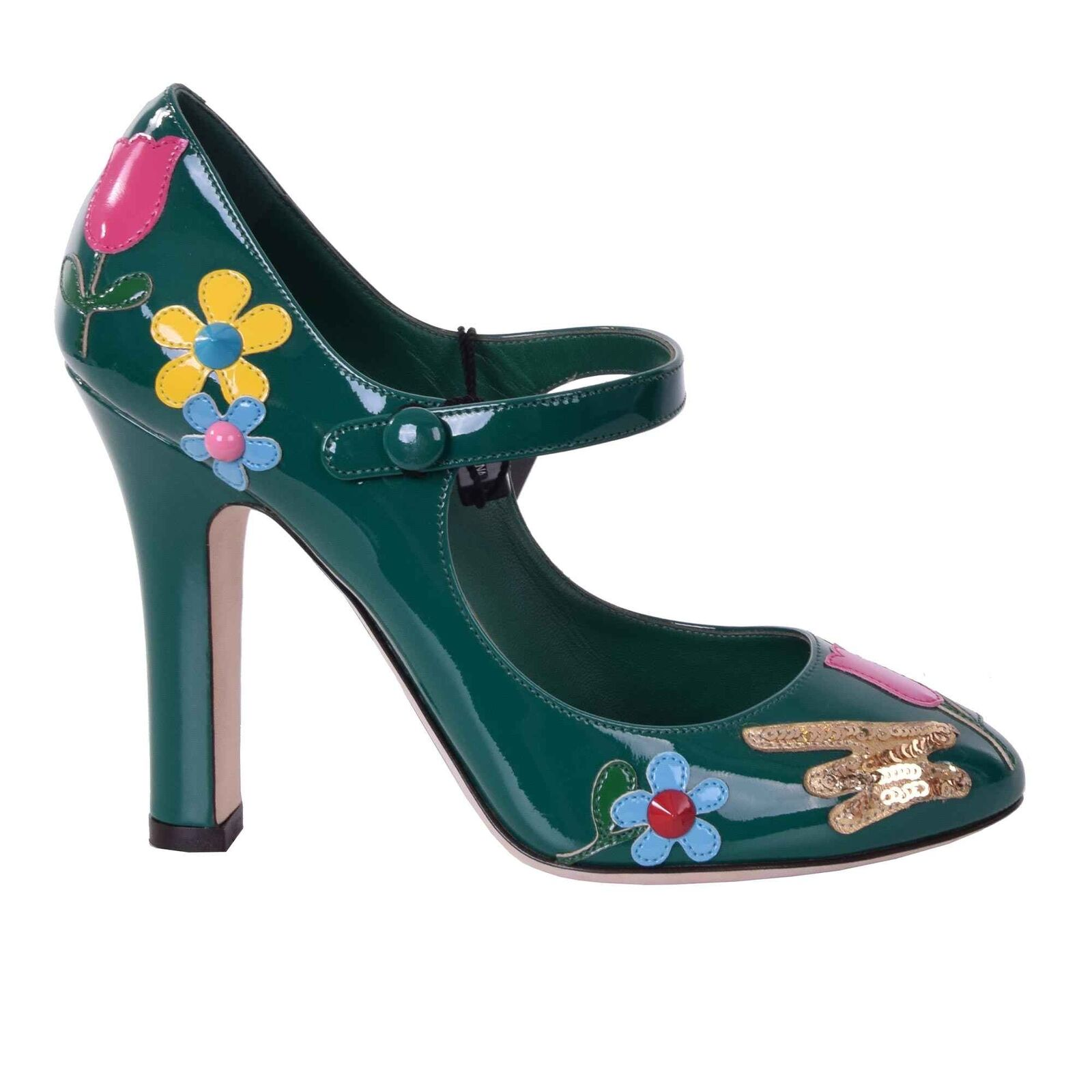 DOLCE & GABBANA Lackleder Mary Mary Mary Jane Pumps Schuhe Blumen Applikationen Grün 06761 f70517