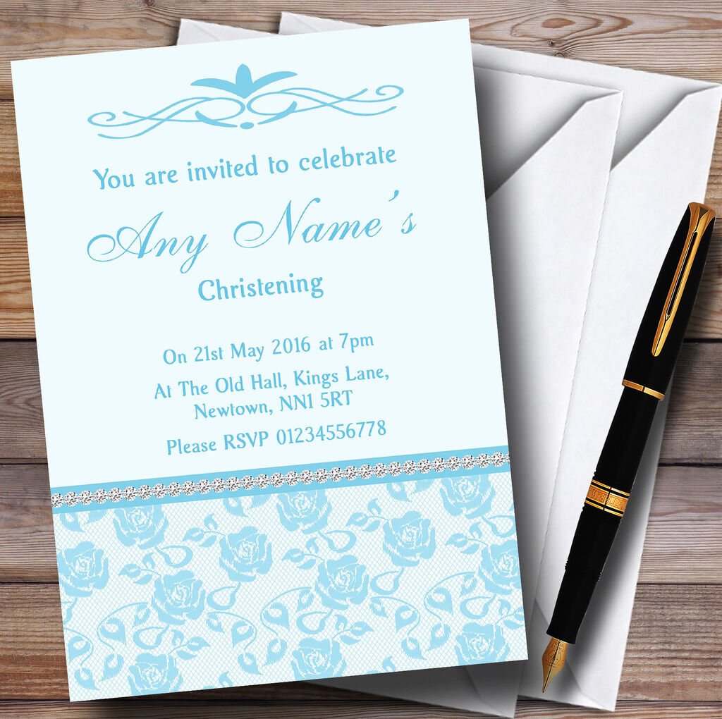 Cielo bonito Floral Azul Diamante Personalizados Bautizo Invitaciones