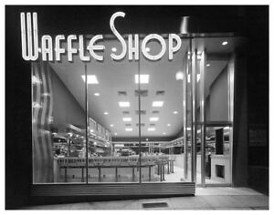 Americana-Retro-Waffle-Shop-At-Night-With-Neon-Sign-Silver-Halide-Photograph
