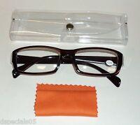 Unisex Reading Glasses Brown Frame Clear Case & Orange Lens Swipe +2.25