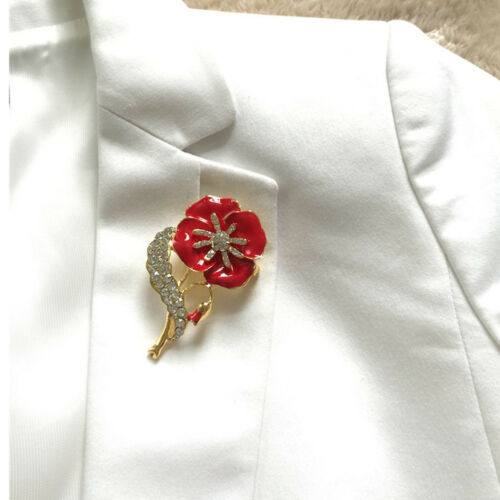 Vintage Poppy Brooch Needle Flower Crystal Pin Poppies Badge Brooches Red UK