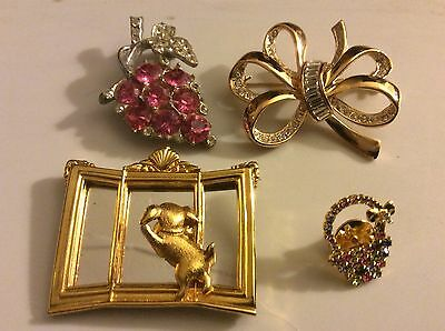 lot of 4 J.J Roman pink crystal grape basket ribbon dog & mirror pin brooch tack