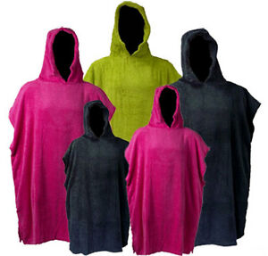 Changing-Robe-Adults-amp-Kids-Poncho-COTTON-TOWELLING-Swimming-Surfing-Beach-Pool