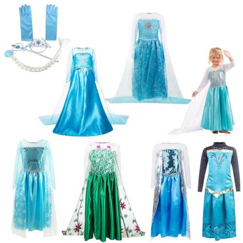 Neu Mächen Eiskönigin Elsa Anna Prinzessin Cosplay Fasching Kostüm Tutu Kleid DE
