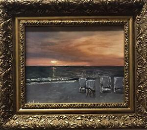 Original Oil Painting evening mood dänhardt Impressionism Realism incl. Frame