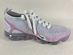 Nike-Women-Vapormax-Flyknit-2-0-White-Pink-Hydrogen-Blue-Beam-Black-Size-6