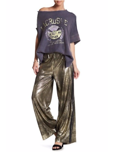 Free People Vegan Leather Metallic Gold Wide Leg Track Pants Womens NWT $148