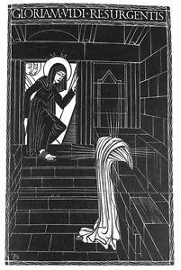 ERIC-GILL-FRAMED-ORIGINAL-RARE-LTD-EDN-WOOD-ENGRAVING-RESURRECTION-1929